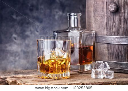 Whisky in glass and ice