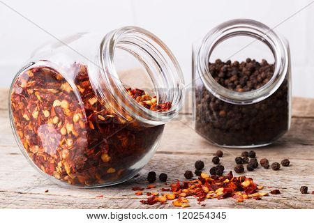 Chili Flakes And Black Peper