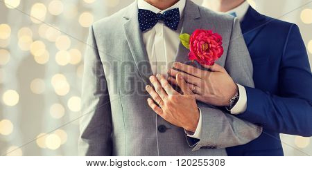 people, homosexuality, same-sex marriage and love concept - close up of happy married male gay couple in suits with buttonholes and bow-ties on wedding over holidays lights background