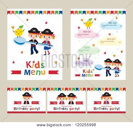 Kids menu vector template.