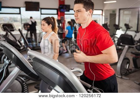 Man Doing Cardio And Listening To Music