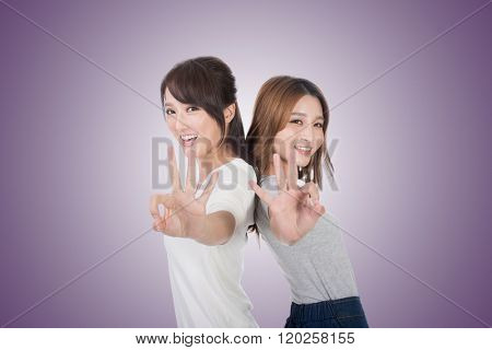 Asian woman give you an Okay sign.