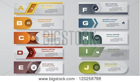 10 clean number banners template. Vector.