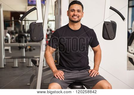 Man Enjoying His Visit To The Gym