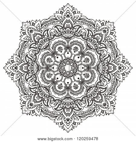 Vector Mandala With Hand Drawn Floral  Henna Elements.