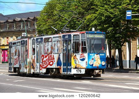 TALLINN, ESTONIA - Jun 21 2014: Tram with bright advertising Pepsi in the city center of Tallinn., E