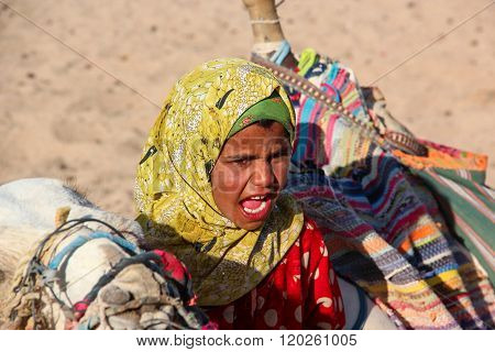HURGHADA, EGYPT - Apr 24 2015: The young girl-cameleer from Bedouin village in Sahara desert with he