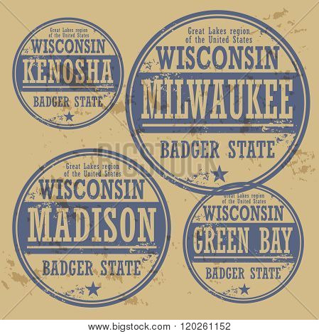 Grunge Rubber Stamp Set With Names Of Wisconsin Cities
