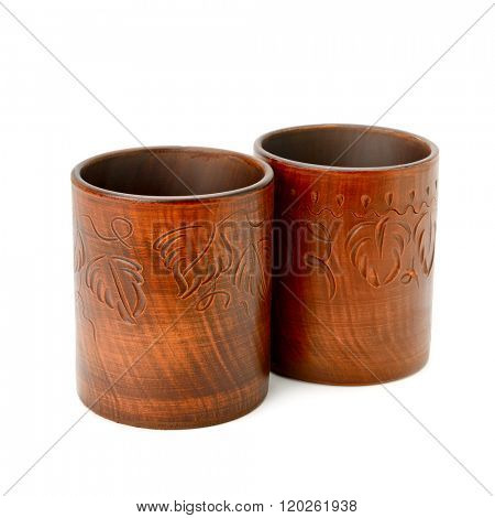clay cup isolated on white