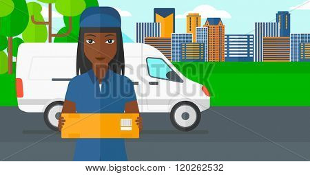 Woman delivering box.