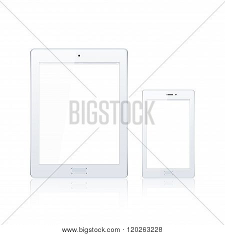 Modern digital tablet PC with mobile smartphone isolated on the white. Science and tecnology concept