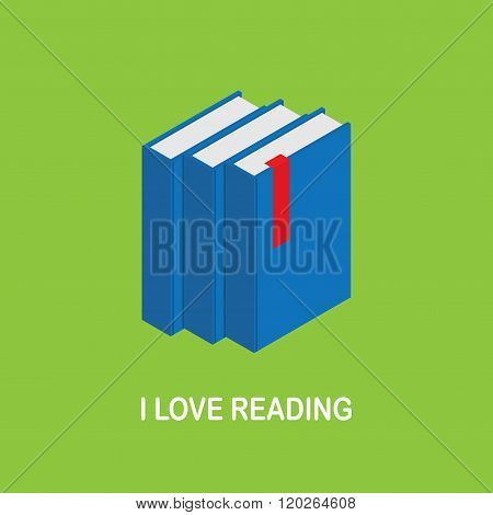 I love reading. Image of three blue books with a red bookmark on a green background. Isometric books