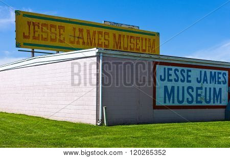 Stanton, Missouri May 18, 2011:  Route 66, the Jesse James museum signs
