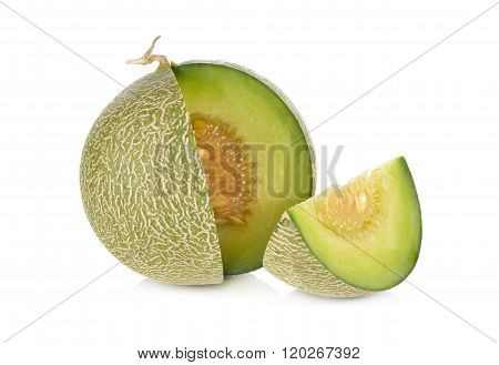 Portion Cut Ripe Honeydew Melon On White Background