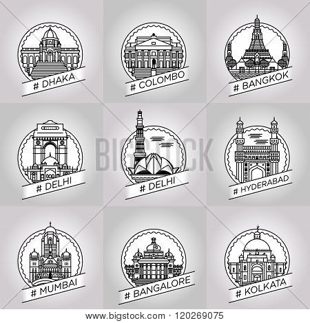 Vector Line Dhaka, Colombo, Bangkok, Delhi, Hyderabad, Hyderabad, Bangalore, Kalkata, Badge Set