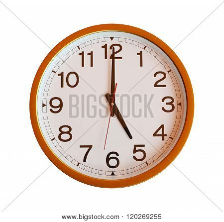 Orange Wall Clock Isolated In Five O'clock On White Background.