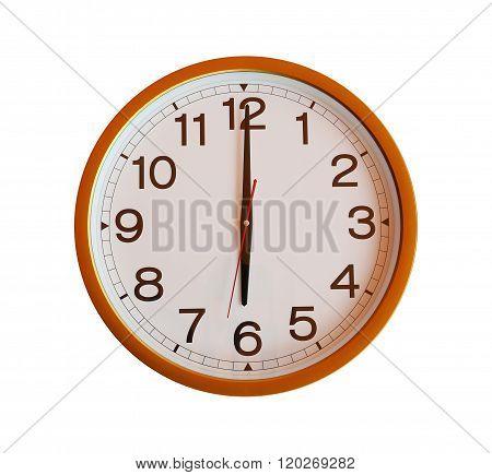 Orange Wall Clock Isolated In Six O'clock.