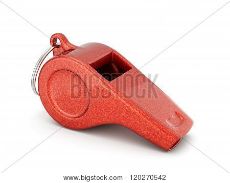 Steel Metal Red Candy Whistle Isolated