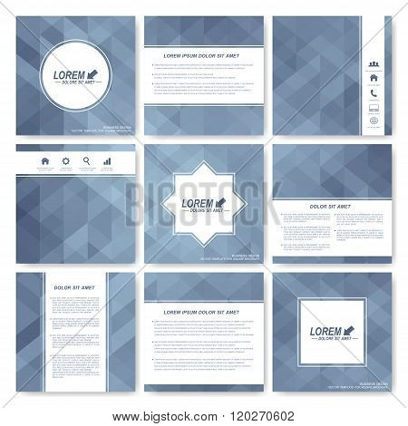Grey set of brochure. Square brochure template . Business, science, medicine and technology design.
