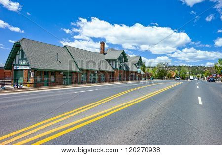 Flagstaff, U.S.A. - May 24, 2011: Arizona, view of the building of the railway station on the Route 66.