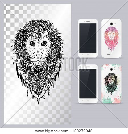 Black and white animal monkey head. Vector illustration for phone case.
