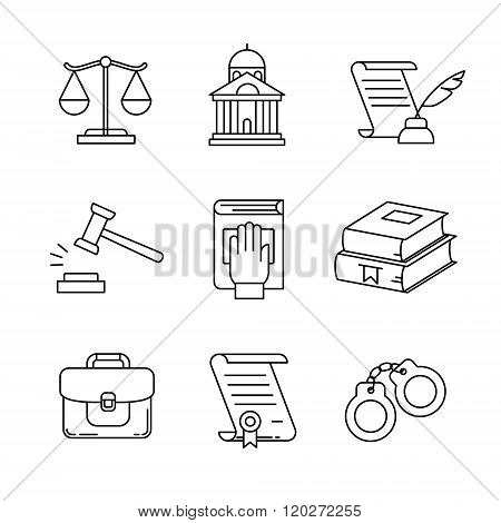 Legal, law and court thin line art icons set