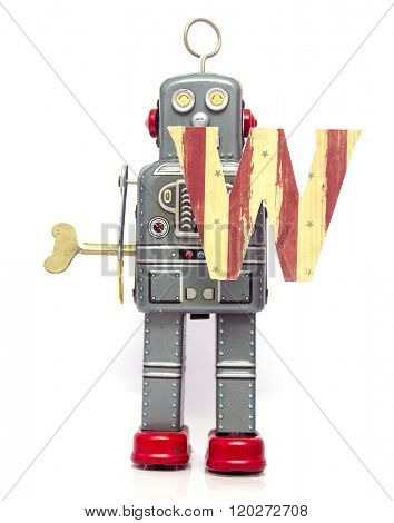 retro robot with the letter  W