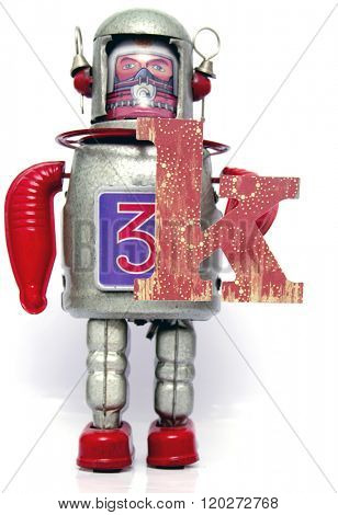 retro robot with the letter  k