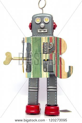 retro robot with the letter  r