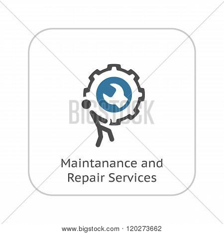 Maintanance and Repair Services Icon. Flat Design.