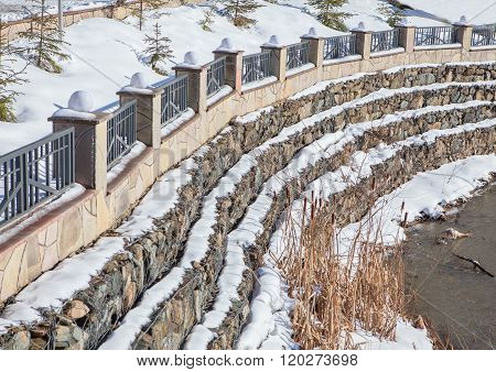 snow covered dam