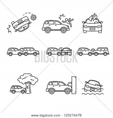 Car crash and accidents. Thin line art icons set