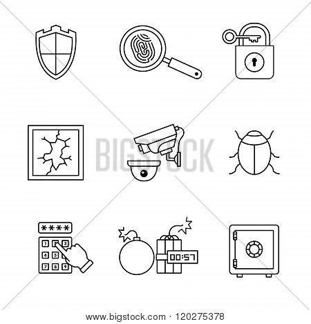 Security and cybersecurity icons thin line art set