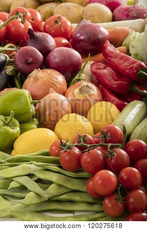 a composition with assorted raw organic vegetables