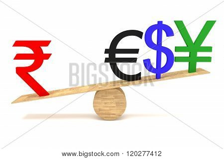 Strong Rupee: currencies on a wooden seesaw