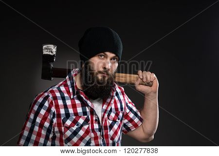 Confident, Brutal Bearded Man With Axe