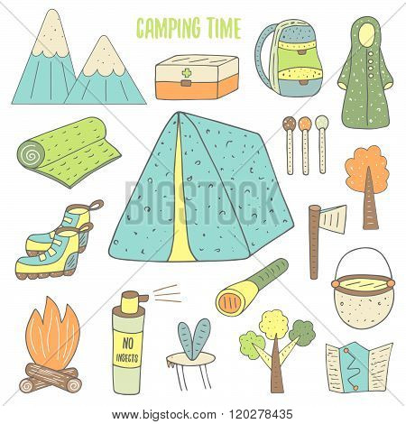 Cute hand drawn doodle camping objects collection