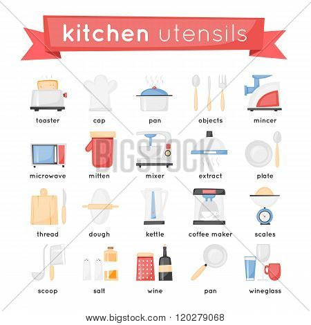 Kitchen appliances, cooking equipment set of icons