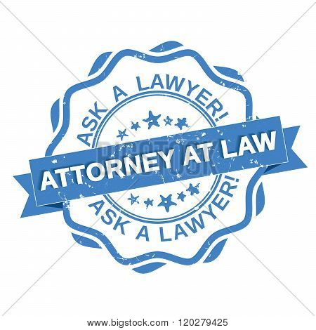 Attorney at law - grunge blue label.