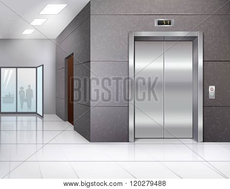 Office building hall with shining floor and metal chrome elevator door realistic vector illustration