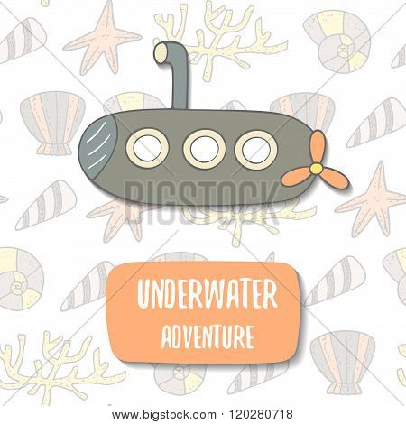 Cute hand drawn doodle postcard with cartoon submarine
