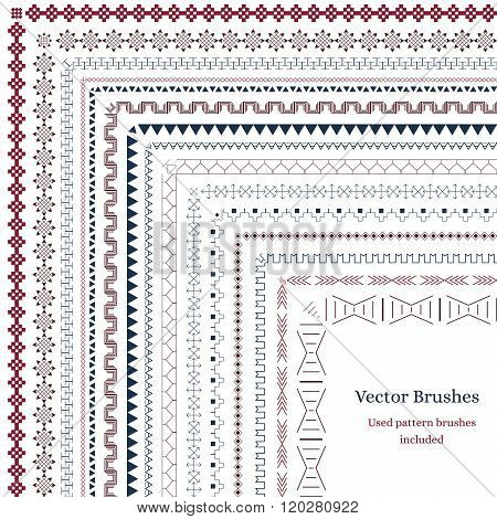 Brush with external and internal corners. Geometric brushes to decorate your design. Swirls arrows ornaments. Used pattern brushes included. Veterna illustration. African motifs