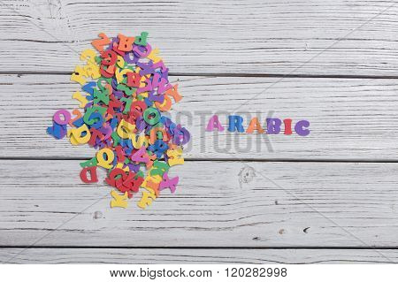 many colorful words on white wooden background