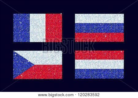 A set of stylized glitter sparkling shiny blue red and white country flags. The set includes France,