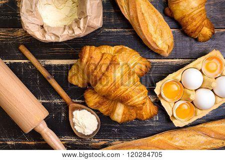 Croissants, Baguettes, Flour, Eggs, Spoon, Rolling Pin