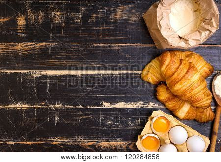 Croissants, Flour, Eggs, Spoon Background