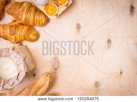 Croissants, Baguette, Flour, Eggs Background