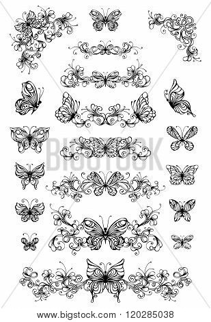 Vector Floral Patterns With Butterflies.