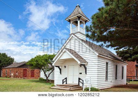 Elk City, U.S.A. - May 29, 2011: Oklahoma, Route 66, the small Pioneer Memorial Chapel.