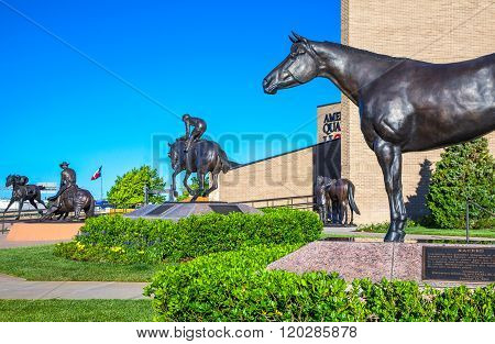Amarillo, U.S.A. - May 21, 2011: Texas, Route 66, the horse monuments of the American Quarter Horse Association.